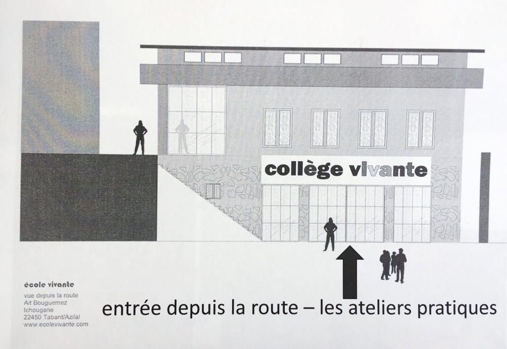 """Konzeptplan des neuen ´""""College"""" = Schule mit Berufsausbildung der Ecole Vivante in Marokko."""
