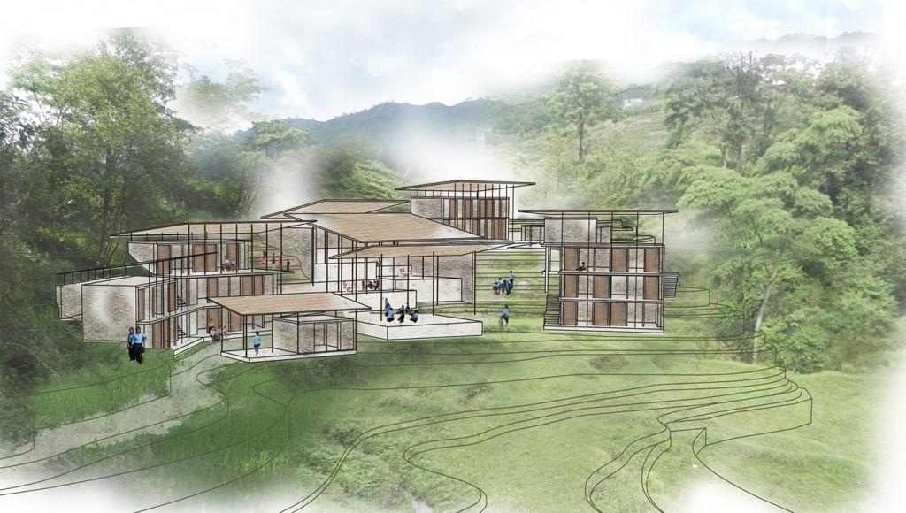 Ansicht des neuen Waisenhaus - Projekt von den Architekten ohne Grenzen