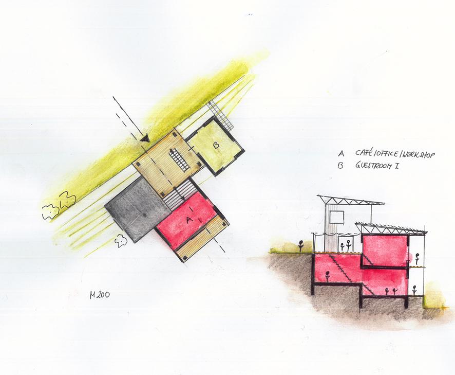 Ein gemeinsamer Speisesaal, der auch als Bibliothek, Veranstaltungs- und Versammlungsort dient, verbindet die 3 Wohndörfer mit einander.